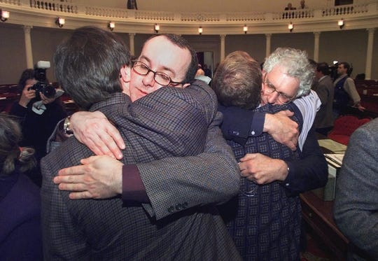 Peter Harrigan (left) and Stan Baker, two of the six plaintiffs in Baker v. VT celebrate after the legislature gave final approval to the civil union bill in April 2000.