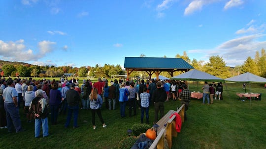 About 200 people gathered on Oct. 4, 2018, at a dedication of a new pavilion and five benches at the Mad River Park and Path in Waitsfield, created in memory of five local teenagers who were killed in a crash on Interstate 89 on Oct. 8, 2016.