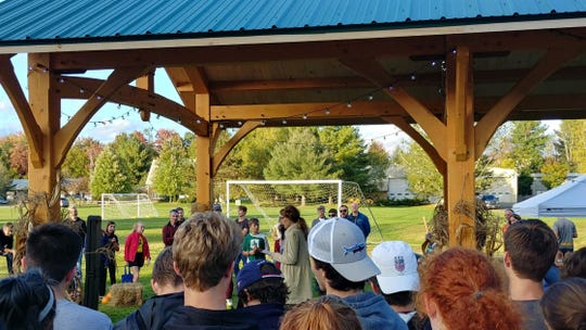 Allie Harris speaks during a gathering on Oct. 4, 2018, at a dedication of a new pavilion and five benches at the Mad River Park and Path in Waitsfield, created in memory of five local teenagers who were killed in a crash on Interstate 89 on Oct. 8, 2016.