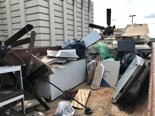Ceiling fans, tiles and machines were thrown out of AMC Corpus Christi 16 on Monday, Oct. 8, 2018.