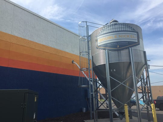 The grain silo at Double Nickel Brewing Company in Pennsauken, which is brewing a collaborative beer created by four breweries to help feed the hungry at the holidays.