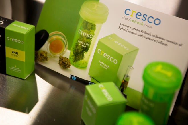 Cresco products displayed during the opening of Cresco Labs plant in Yellow Springs, Ohio, on Monday, Oct. 8, 2018.