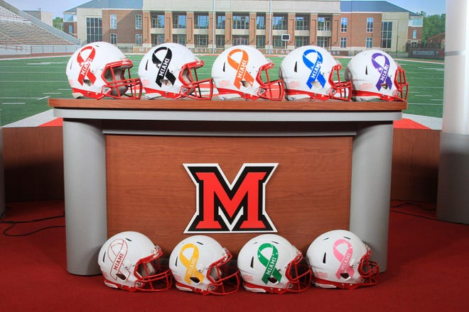 The Miami RedHawks' Cancer Awareness helmets