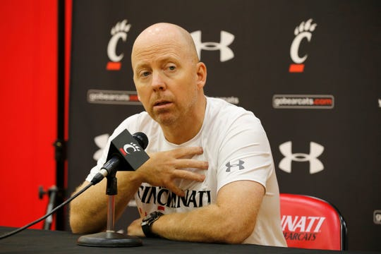 Men's head basketball coach Mick Cronin takes questions during the University of Cincinnati basketball media day in the practice gym of the Lindner Center at UC in the University Heights neighborhood of Cincinnati on Monday, Oct. 8, 2018.