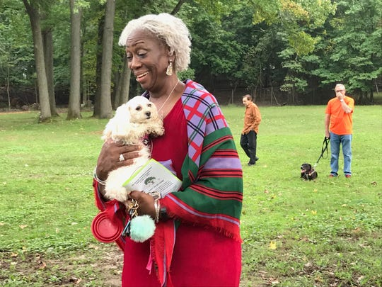 This dog was among a large group of dogs blessed Sunday during the Animal Initiative Committee's Celebration of Animals at Leland Avenue Park in Plainfield.