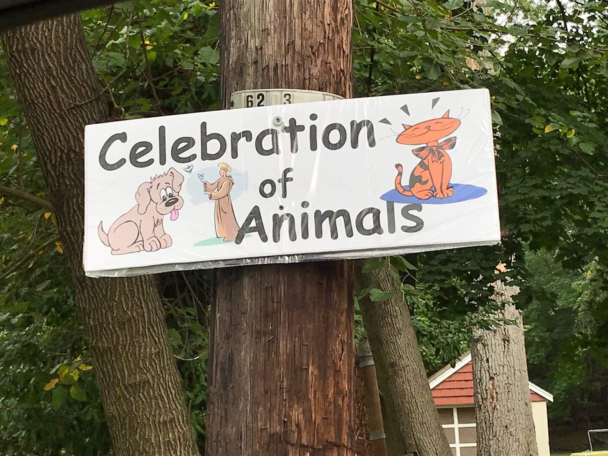 A sign welcoming participants to Sunday's Animal Initiative Committee's Celebration of Animals at Leland Avenue Park in Plainfield