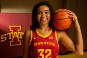 Iowa State's Meredith Burkhall poses for a photo on Iowa State Women's basketball media day for the 2018-2019 season on Monday, Oct. 8, 2018, at the Sukup Basketball Complex in Ames.