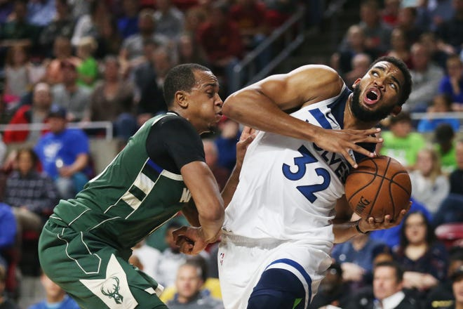 Minnesota's Karl-Anthony Towns drives to the hoop during the preseason match-up between the Minnesota Timberwolves and the Milwaukee Bucks on Sunday, Oct. 7, 2018, in Hilton Coliseum in Ames, Iowa.