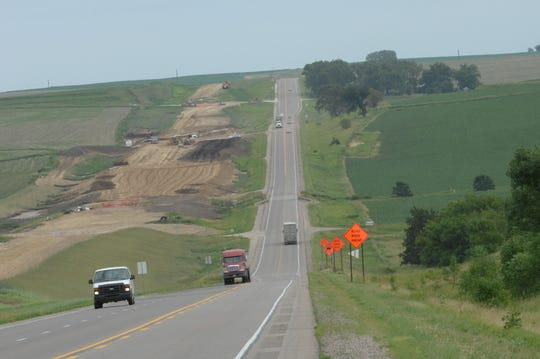 Construction work on U.S. Highway 20, June 18, 2015, east of Moville to west of Woodbury County Road L-25.