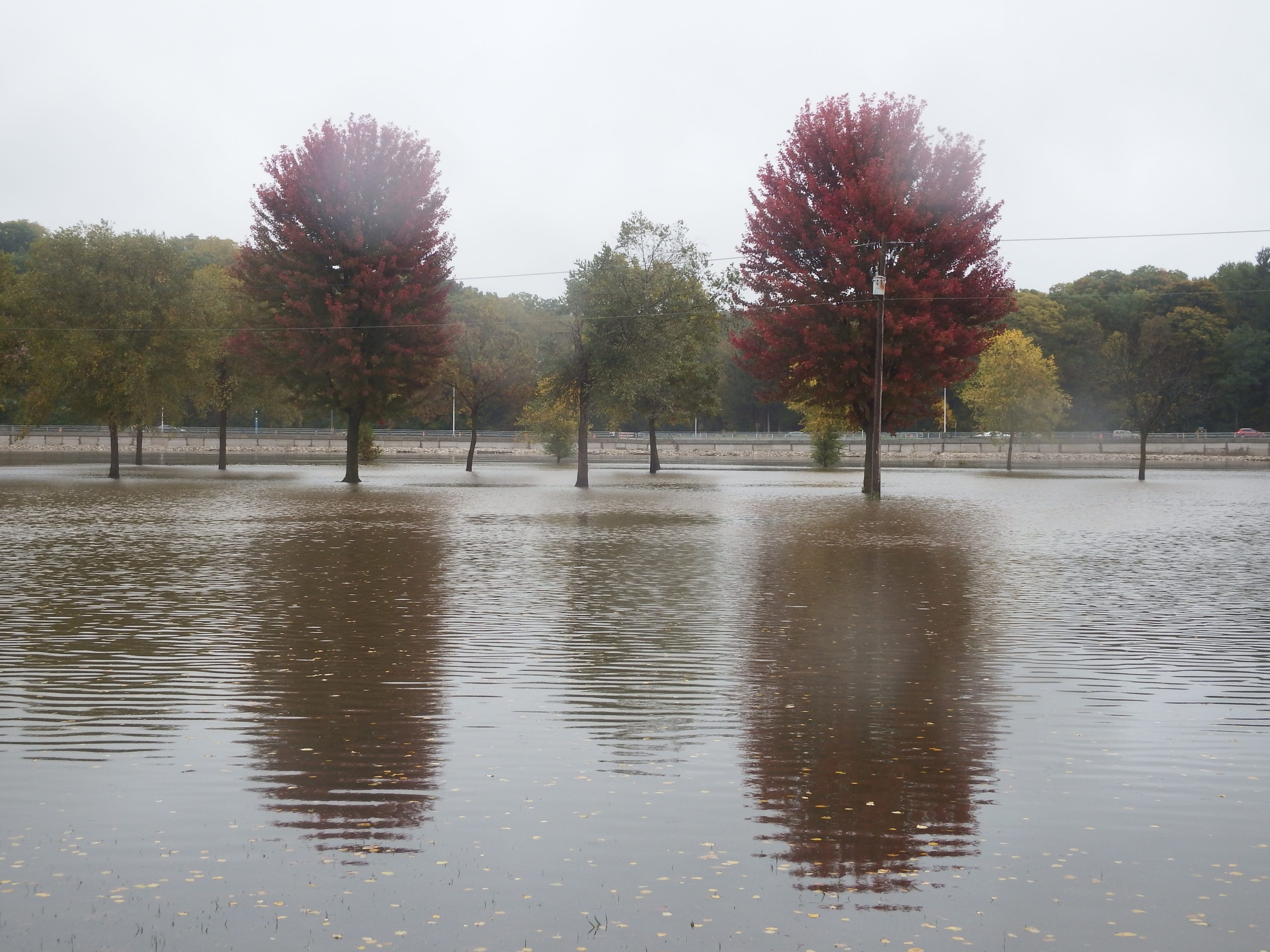 The Iowa River in Iowa City at major flood stage.