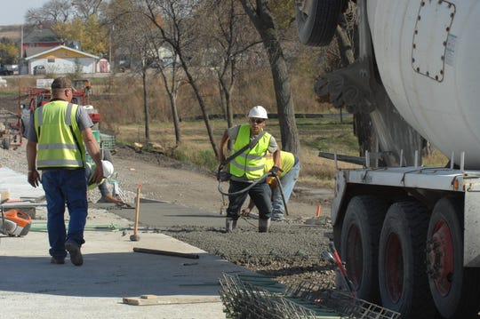 Concrete work on U.S. Highway 20 at Correctionville, Iowa,  Oct. 20, 2015.