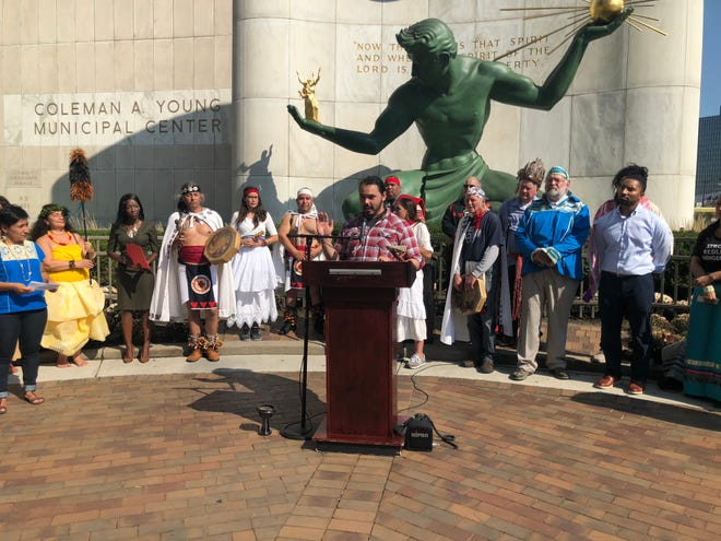 Wayne State University student David Pitawanakwat helped coordinate events at the city's first Indigenous Peoples' Day