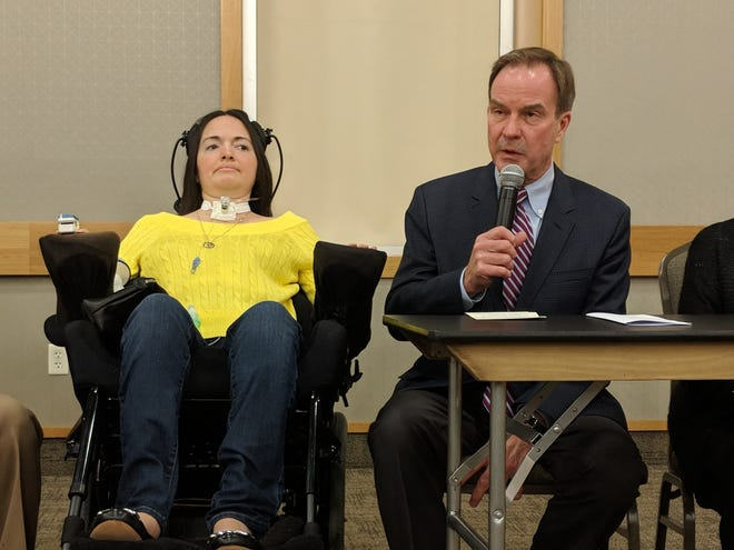 Attorney General Bill Schuette, right, with Kali Pung of Alma.