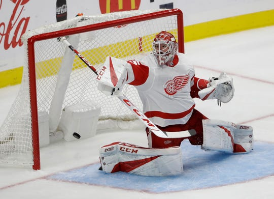 Red Wings goaltender Jonathan Bernier gives up a goal earlier this month.