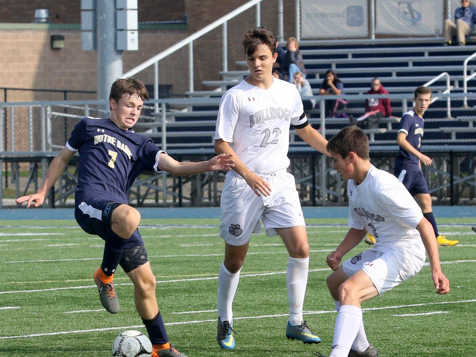 Elmira Notre Dame was a 3-2 winner over Delhi in boys soccer Oct. 8, 2018 at Brewer Memorial Stadium at Notre Dame High School.