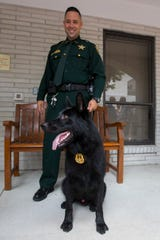 Lee County Sheriff's Detective Jorge Oro, handles his partner, JoJo, the newest Lee County Sheriff's Office K-9 officer. JoJo was introduced to the public Monday in a dedication ceremony held in Fort Myers.