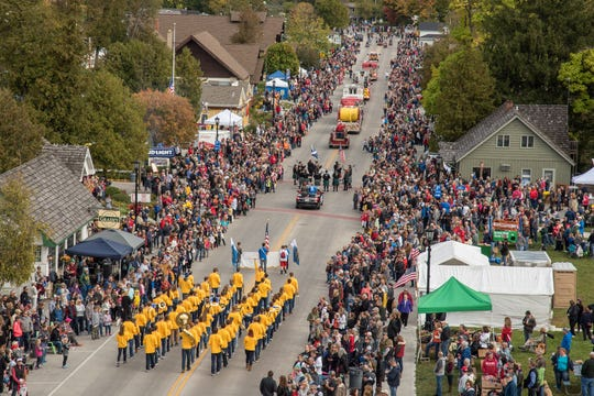 An overhead view of the crowd lining State 42 as the Sister Bay Fall Fest parade passes through downtown in 2017.