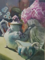 """Teapot,"" watercolor by Barb Essock, one of 10 artists featured in the Holiday Fine Art Show at Artzy Studio."