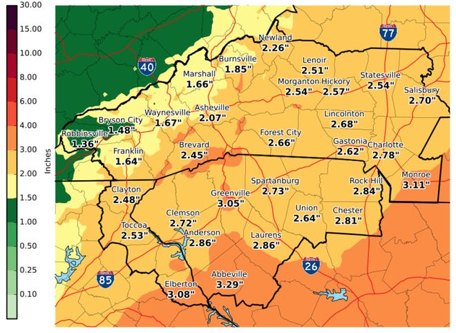 Storm total precipitation for the week of Oct 12, 2018.