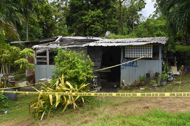 Police tape barricades the Chalan Pago residence of a man that was found dead at about 1 p.m. on Saturday, Oct. 6, 2018. According to Guam Police Department spokesman Sgt. Paul Tapao, the GPD's Criminal Investigation Division was activated upon discovering injuries on the victim.