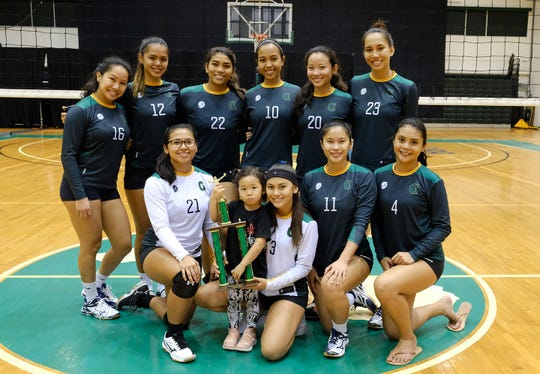 The University of Guam Varsity Tritons won the the Guam Women's College Volleyball League championship
