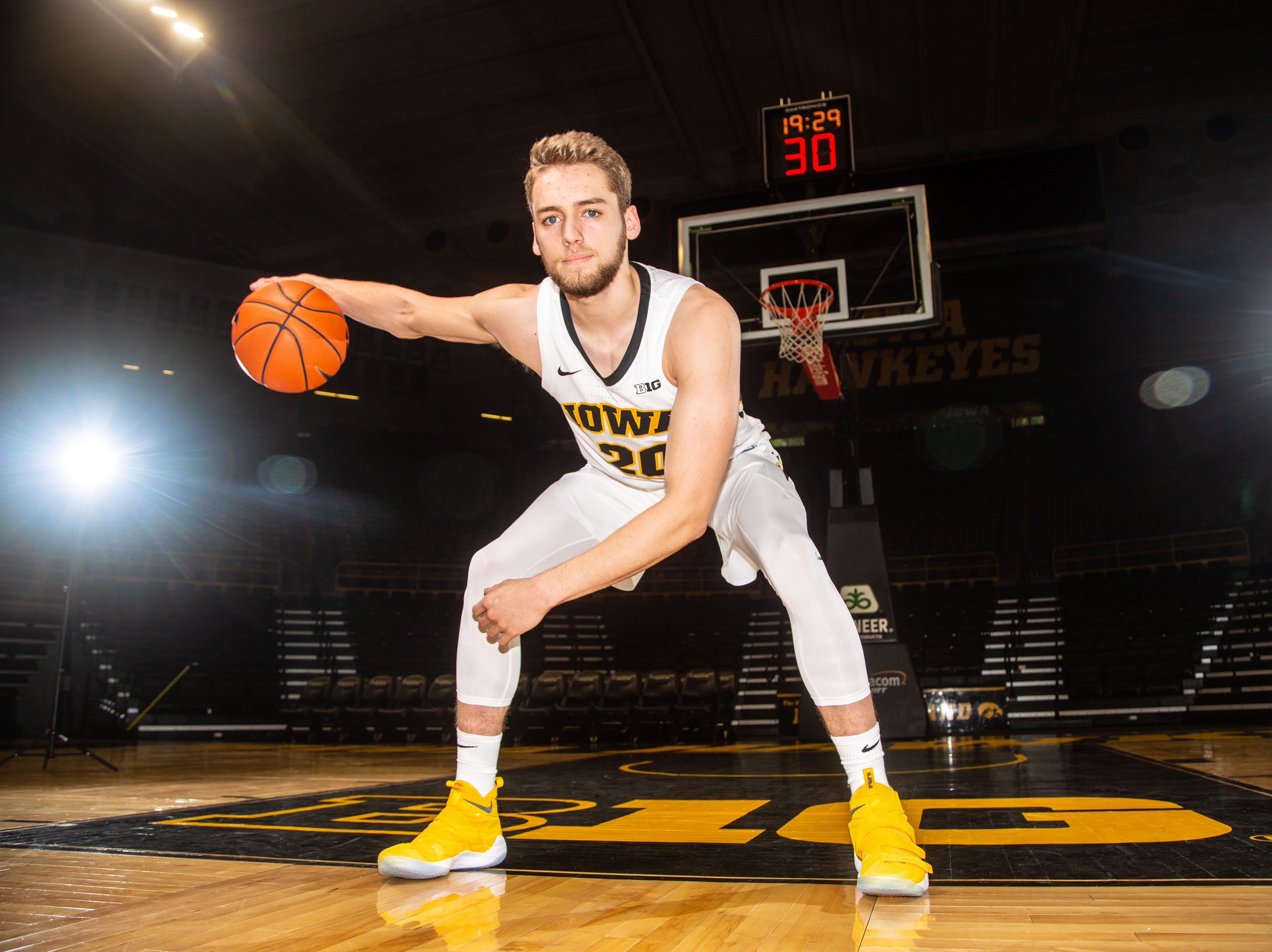 Iowa forward Riley Till poses for a photo during Hawkeye media day at Carver Hawkeye ArenaMonday, Oct. 8, 2018.