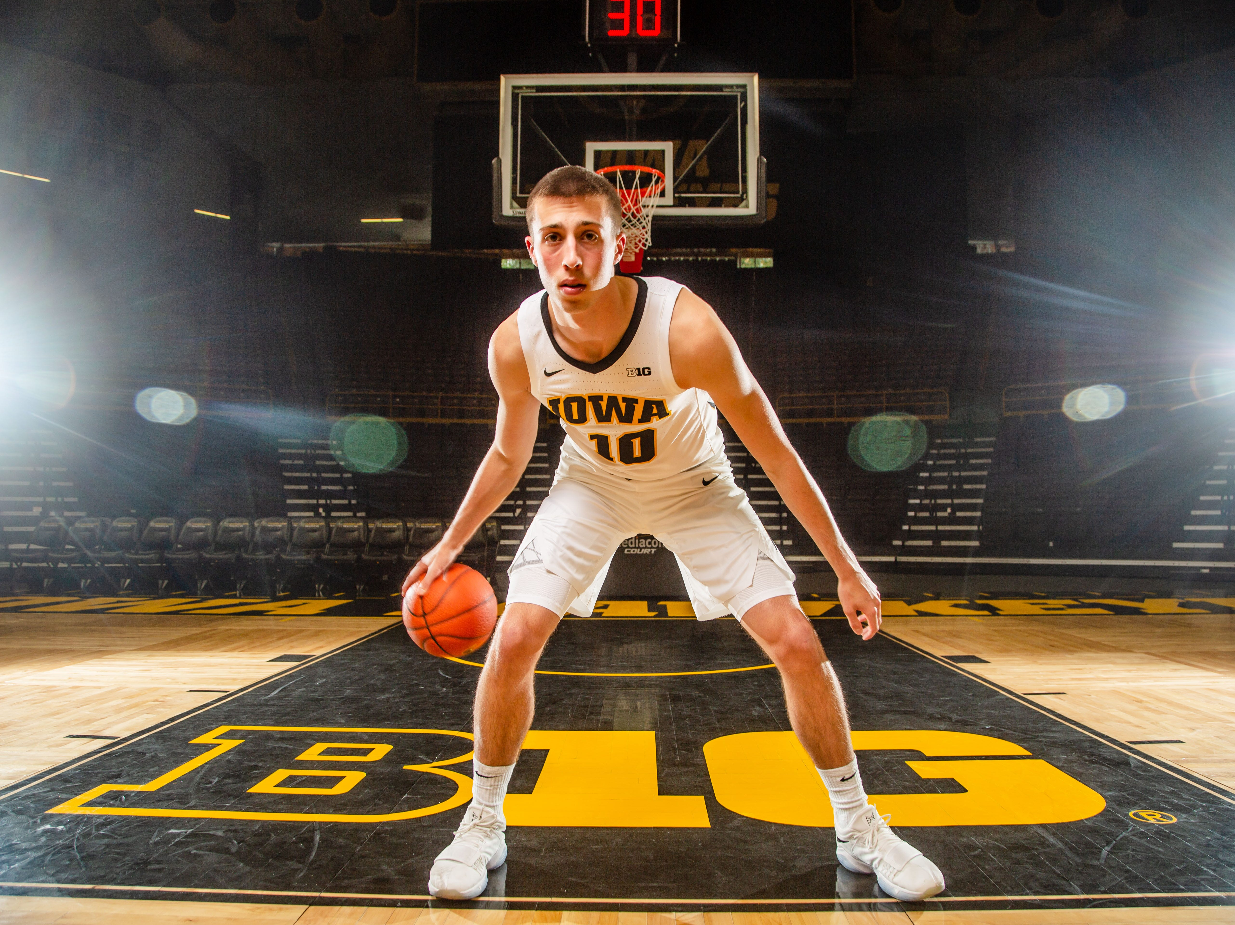 Iowa guard Joe Wieskamp poses for a photo during Hawkeye media day at Carver Hawkeye ArenaMonday, Oct. 8, 2018.