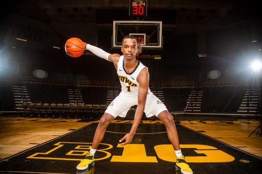 Iowa guard Maishe Dailey poses for a photo during Hawkeye media day at Carver Hawkeye ArenaMonday, Oct. 8, 2018.