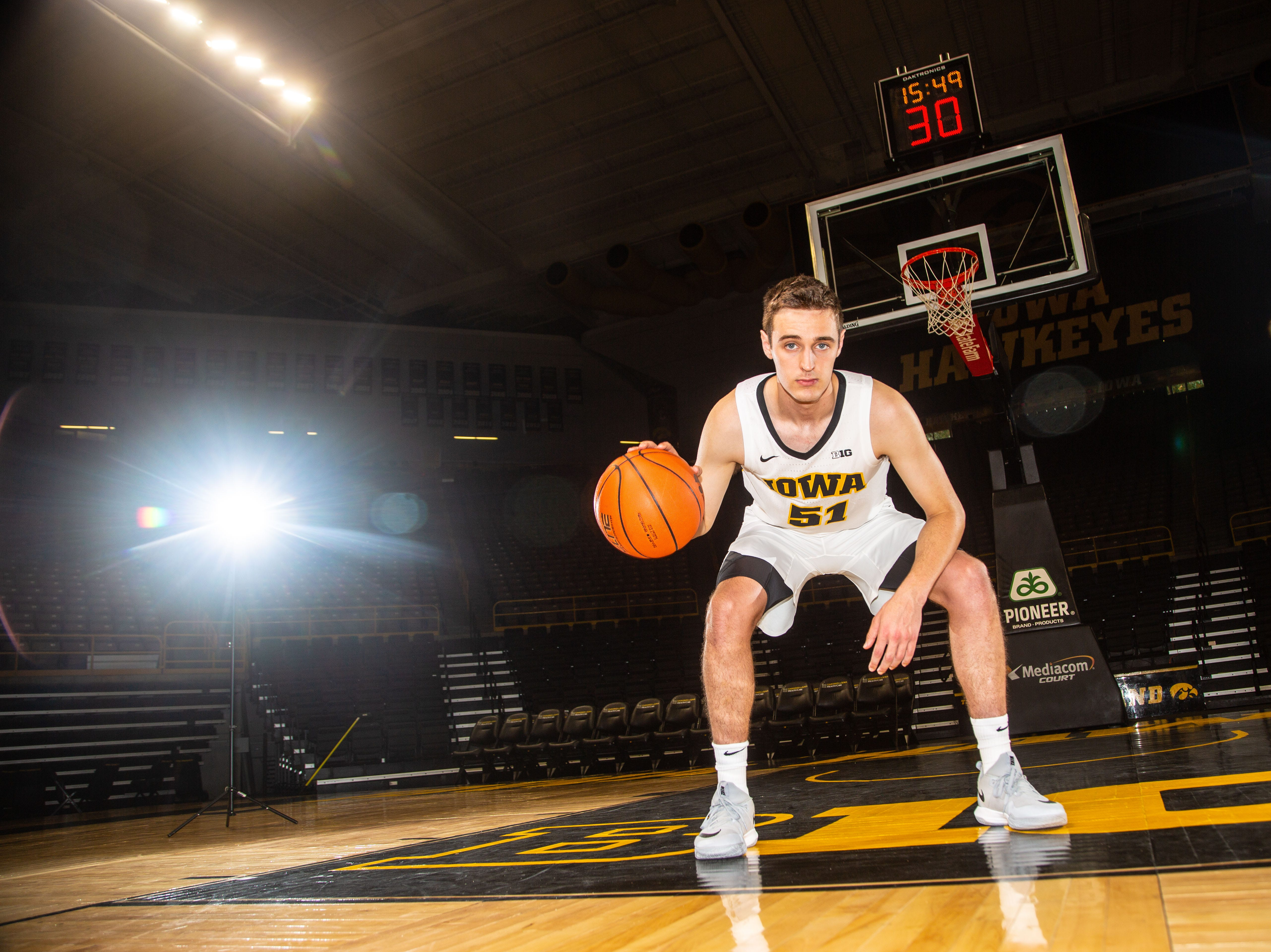 Iowa forward Nicholas Baer poses for a photo during Hawkeye media day at Carver Hawkeye ArenaMonday, Oct. 8, 2018.