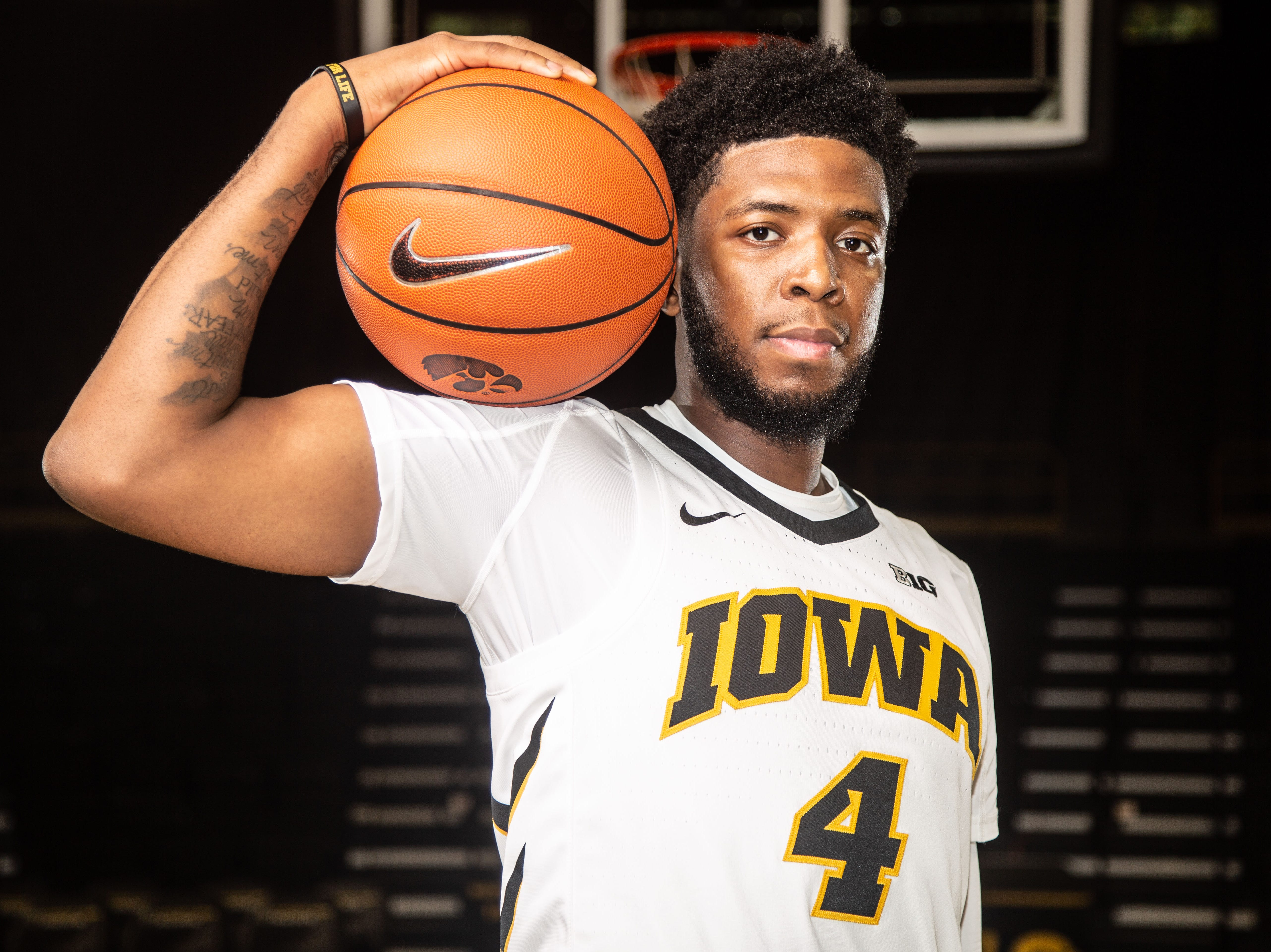 Iowa guard Isaiah Moss poses for a photo during Hawkeye media day at Carver Hawkeye ArenaMonday, Oct. 8, 2018.