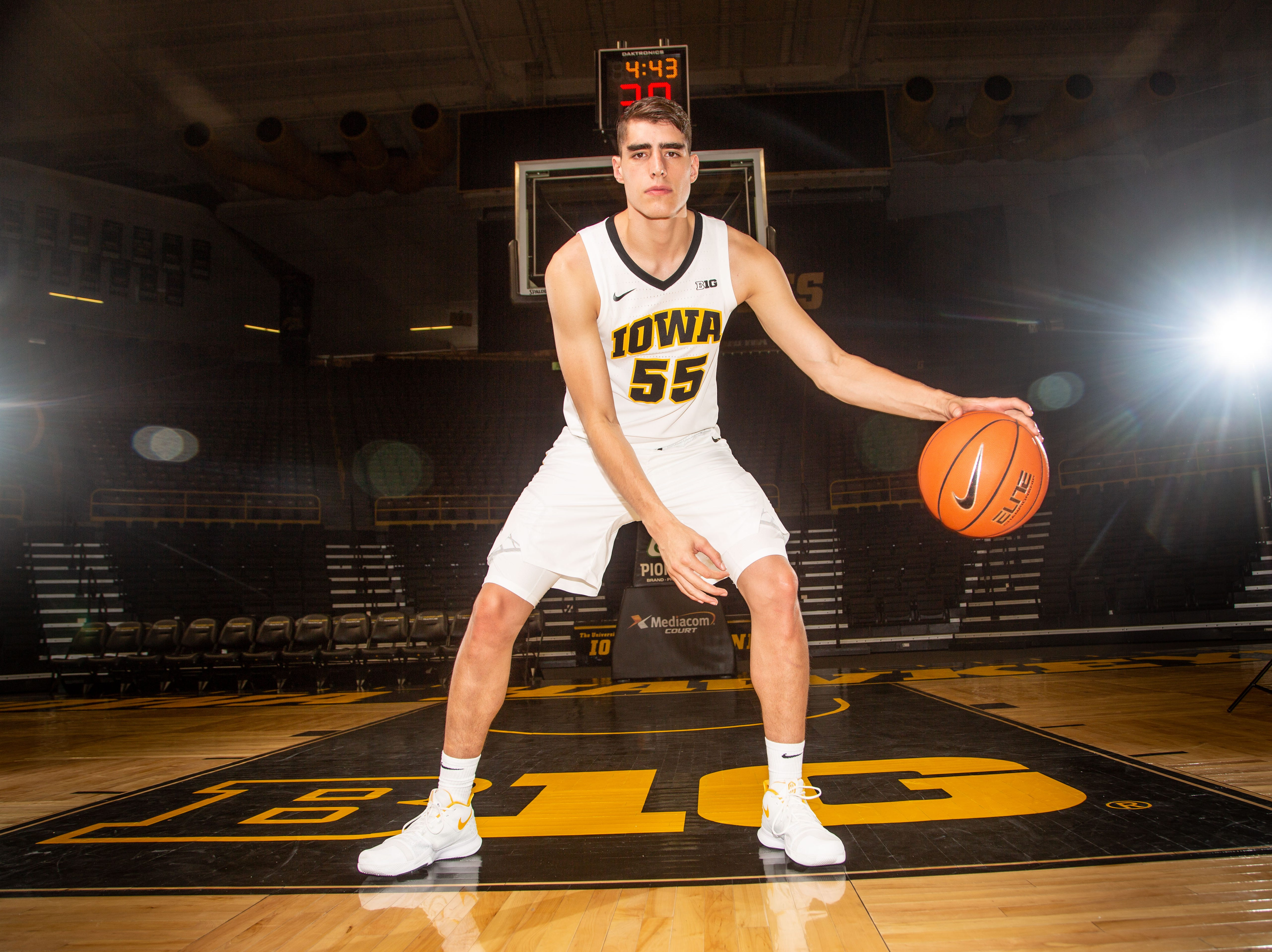 Iowa forward Luka Garza poses for a photo during Hawkeye media day at Carver Hawkeye ArenaMonday, Oct. 8, 2018.