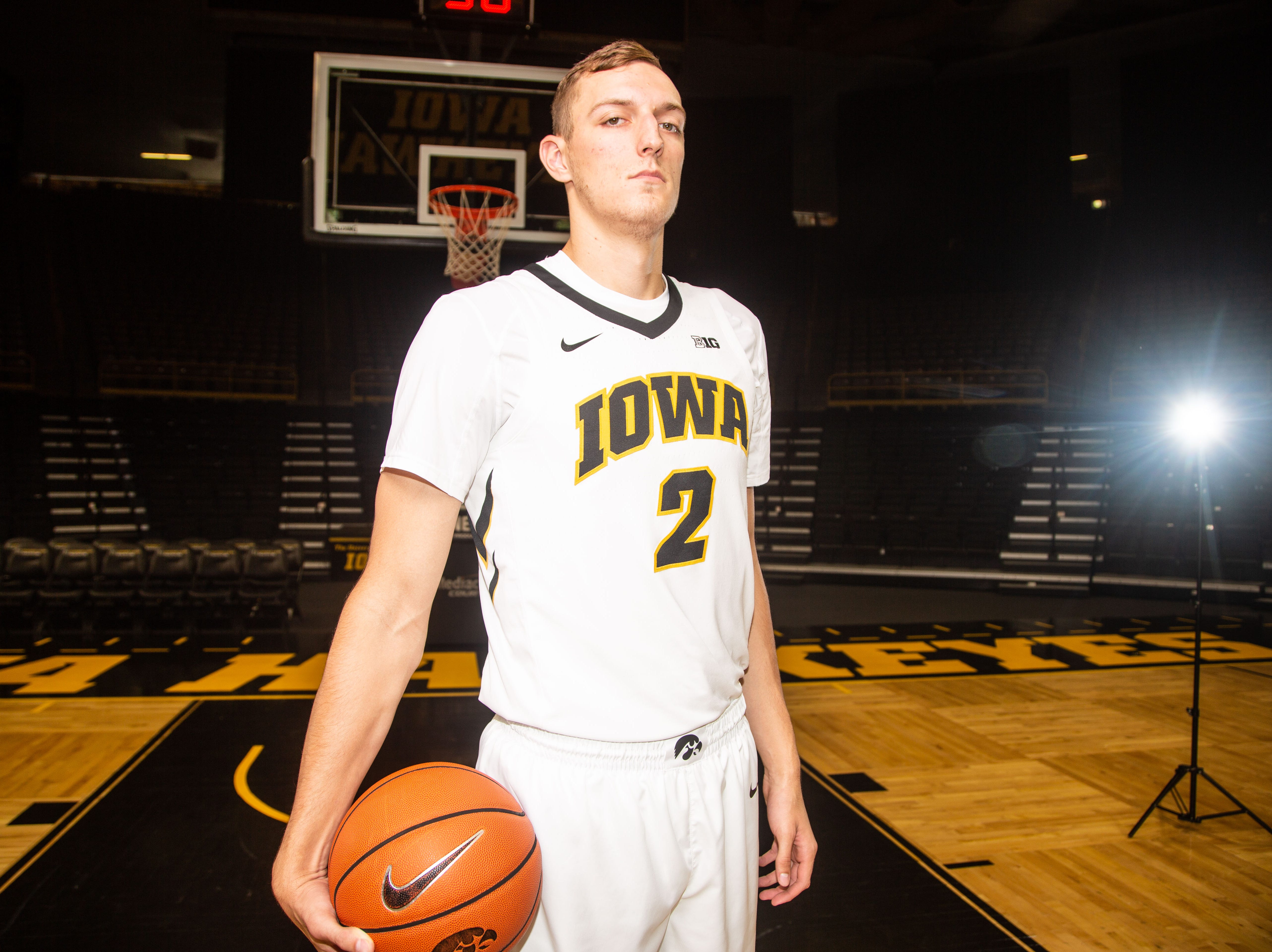 Iowa forward Jack Nunge poses for a photo during Hawkeye media day at Carver Hawkeye ArenaMonday, Oct. 8, 2018.