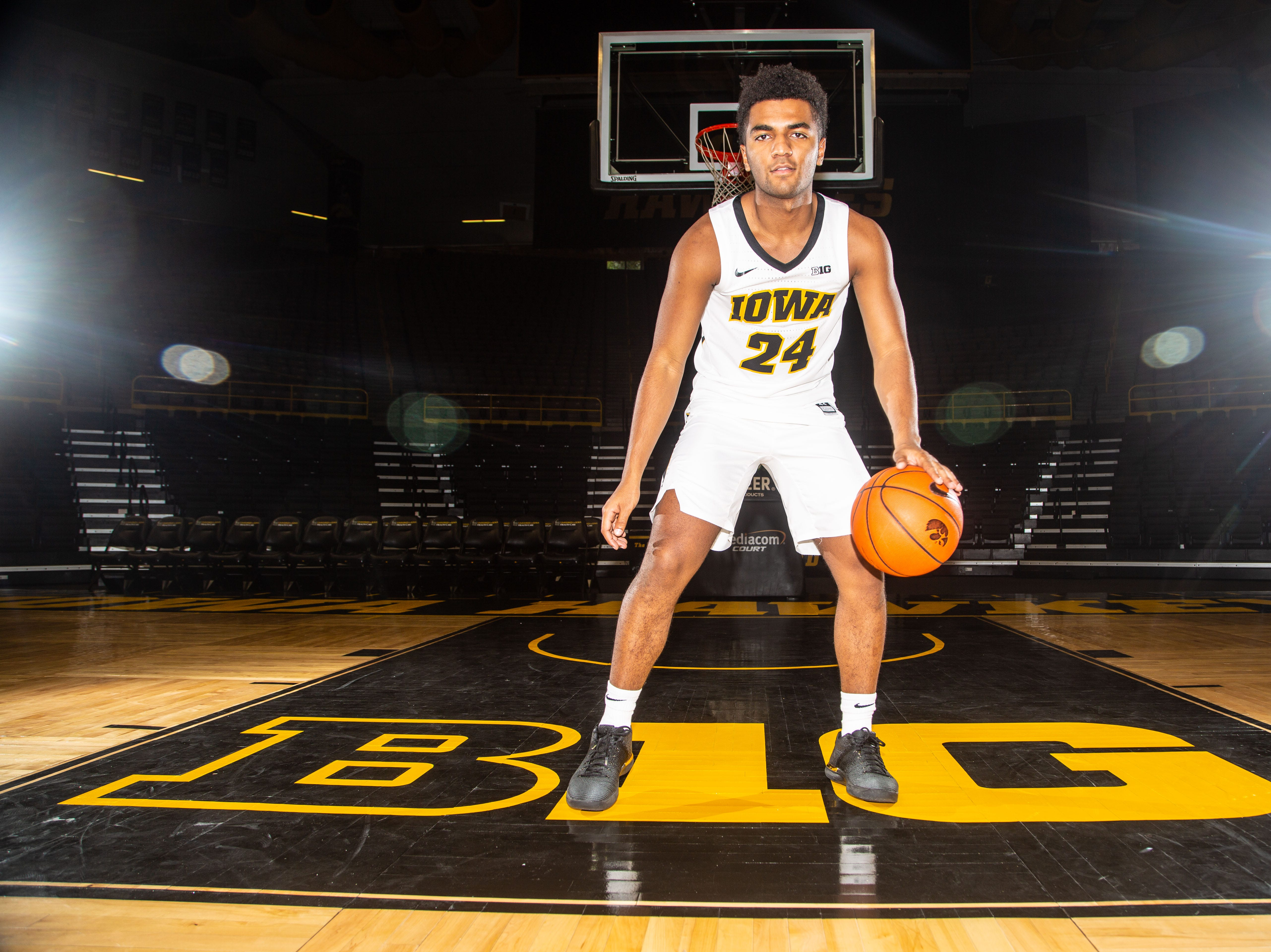 Iowa guard Nicolas Hobbs poses for a photo during Hawkeye media day at Carver Hawkeye ArenaMonday, Oct. 8, 2018.