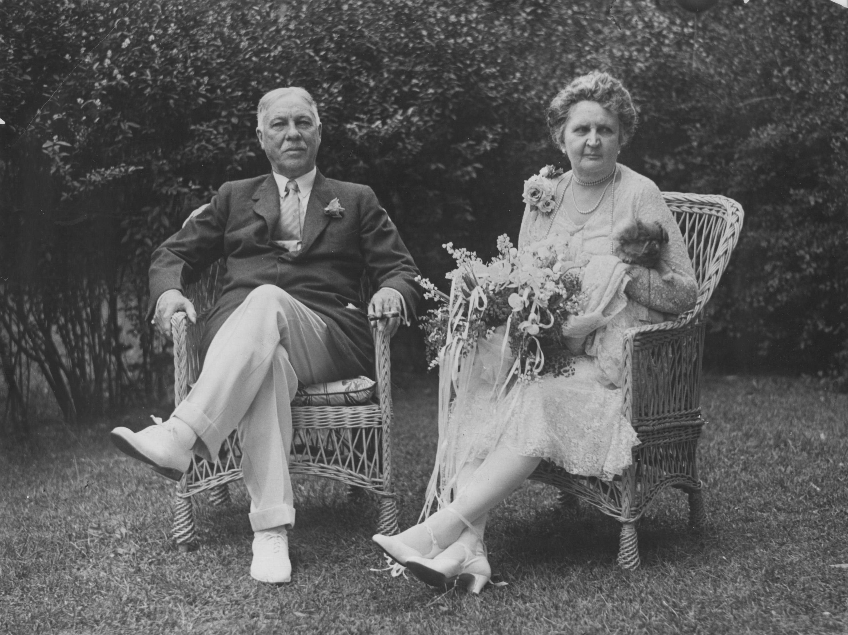 Former Indianapolis Mayor Thomas Taggert and his wife Eva at their Golden Hill Home in 1928. Taggert would die the following year at age 72.