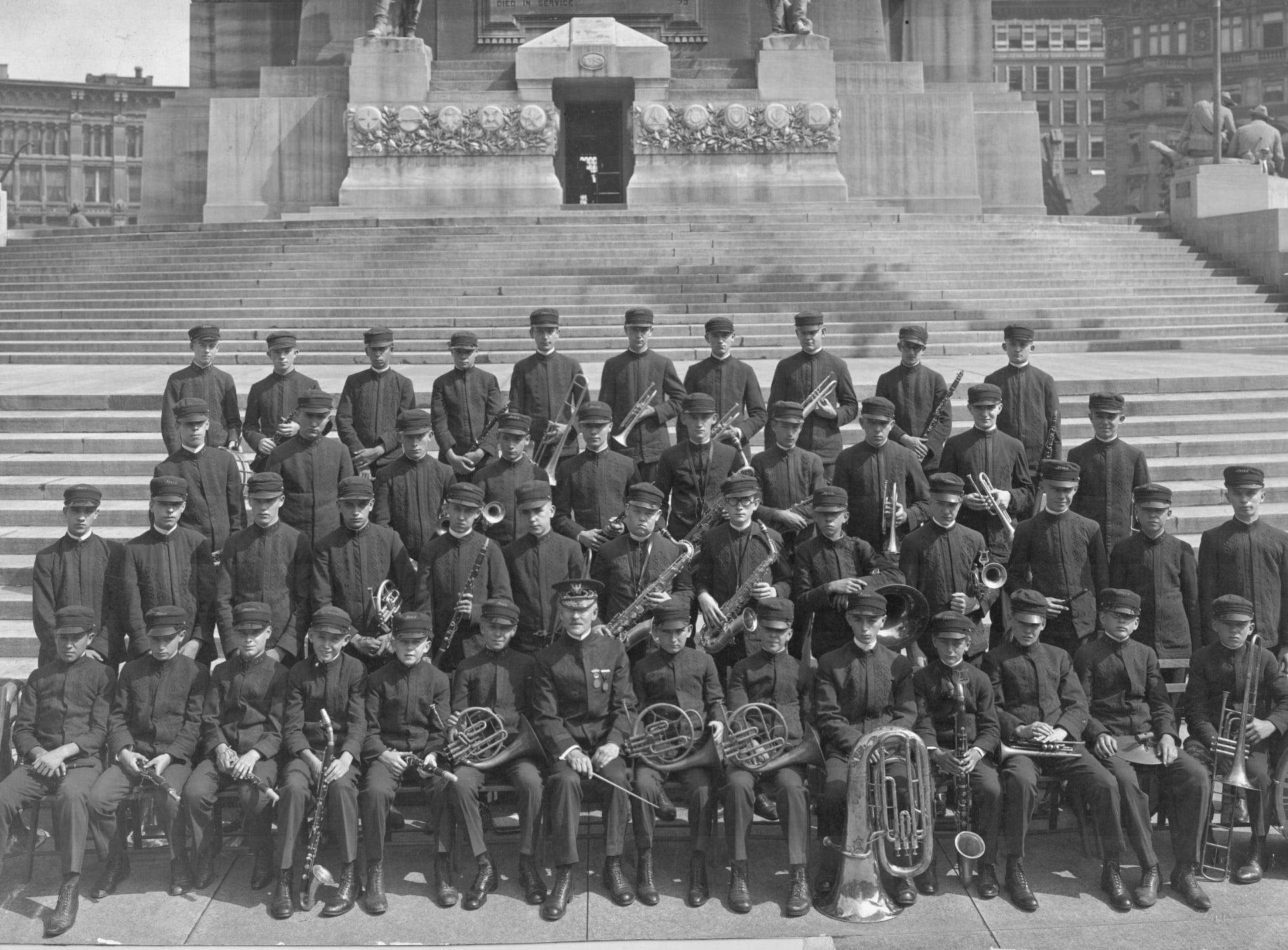 The Indianapolis News newsboys band in 1922 on the steps of the Soldiers and Sailors Monument.