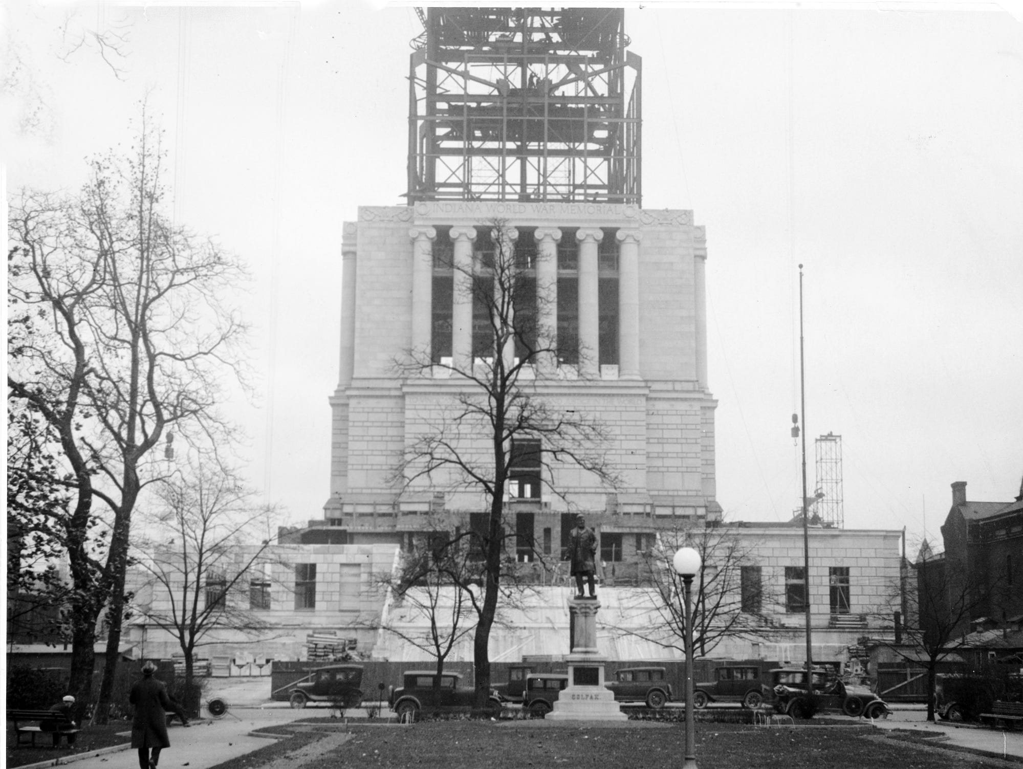 Indiana World War Memorial construction from University Park in 1920's.