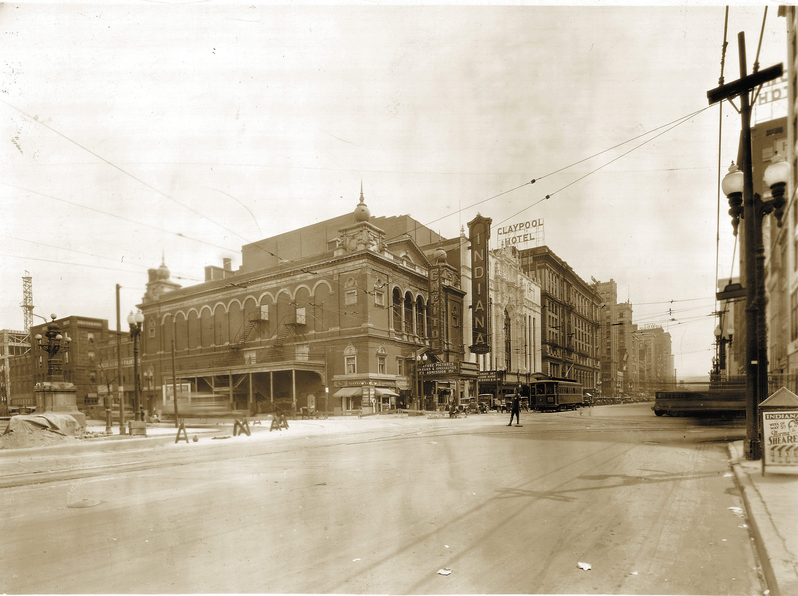 This is a view of Washington Street looking east from Capitol in early 1929. The Capitol Theater (left center) was on the N.E. corner adjoined by the Indiana Theater (white facade). The Claypool Hotel was next to that situated on the N.W. corner of Illinois and Washington Streets