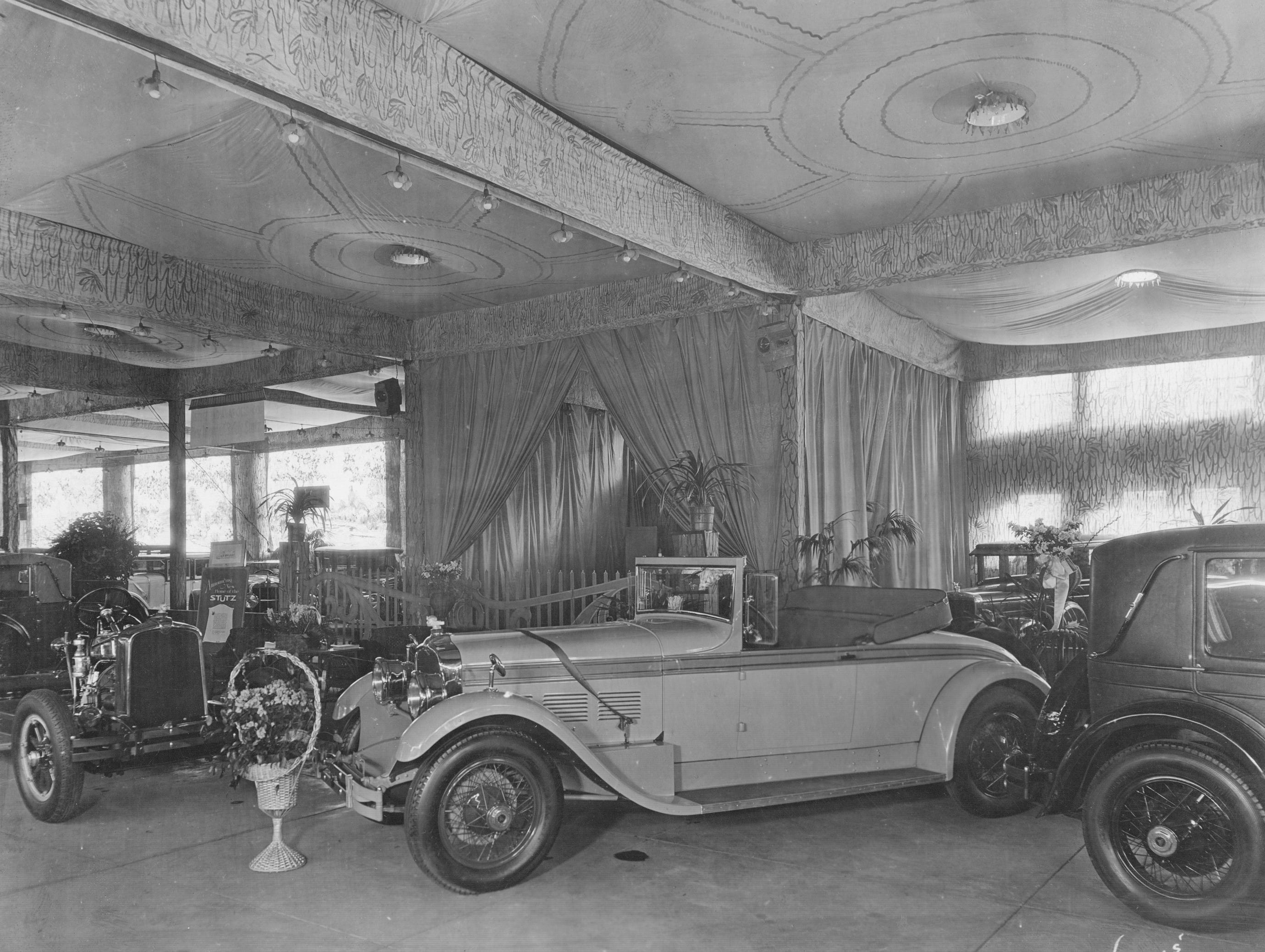 View of the Stutz exhibit at the Indianapolis Auto Show February 14-19, 1927.