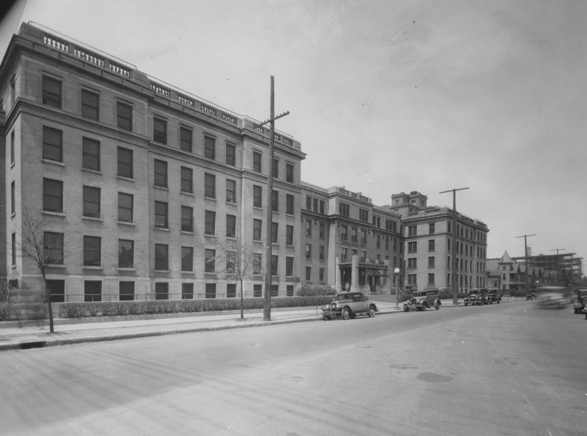IU Health Methodist Hospital looking north on Capitol Ave. from 16th Street May 8, 1928.