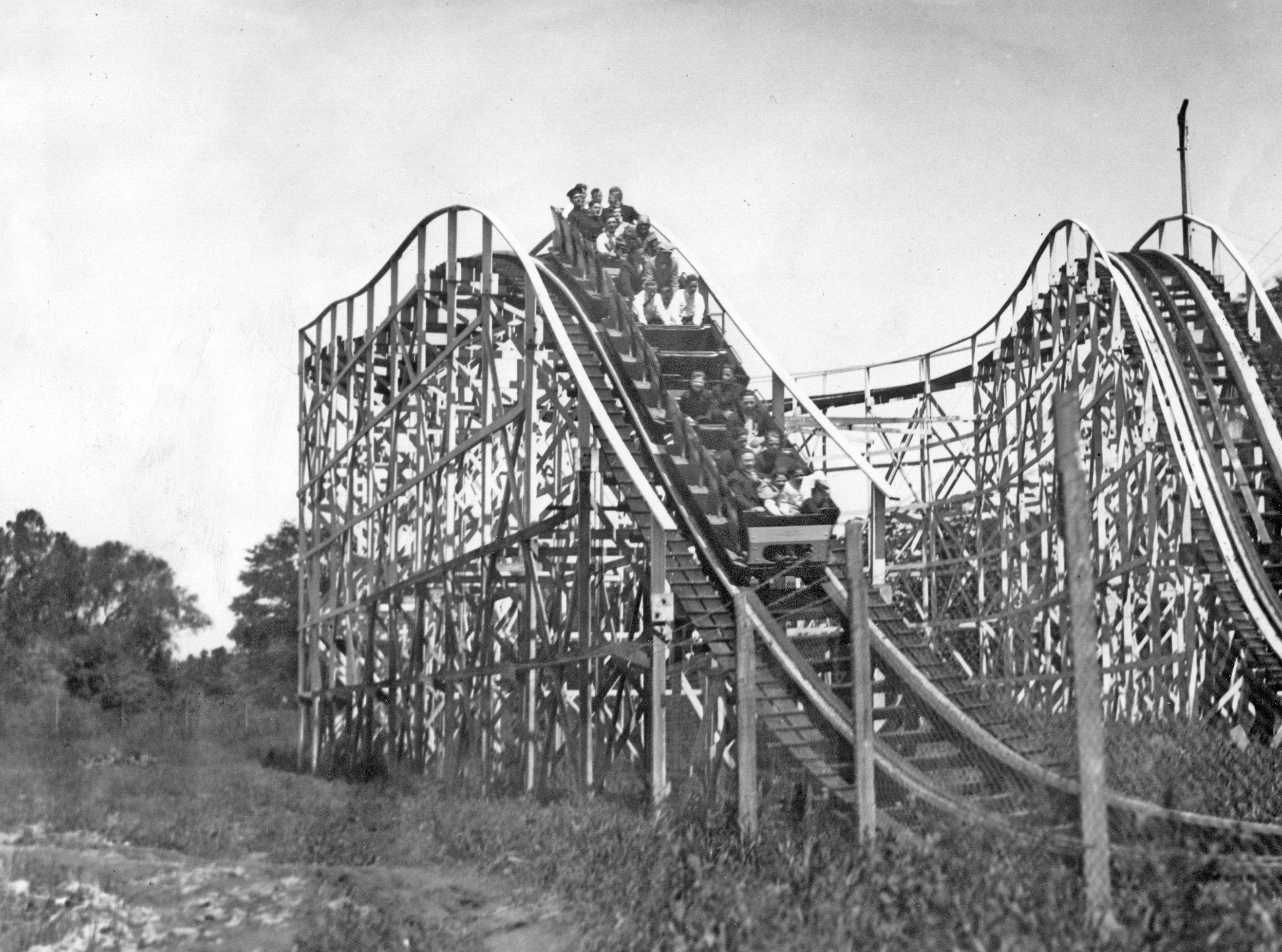 The roller coaster ride at Riverside Amusement Park in 1927.