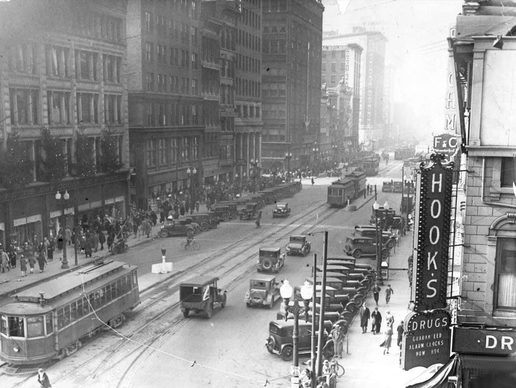 Washington Street, looking west from Pennsylvania Street in December 1928, showed one of the principal avenues of business and traffic in the city.