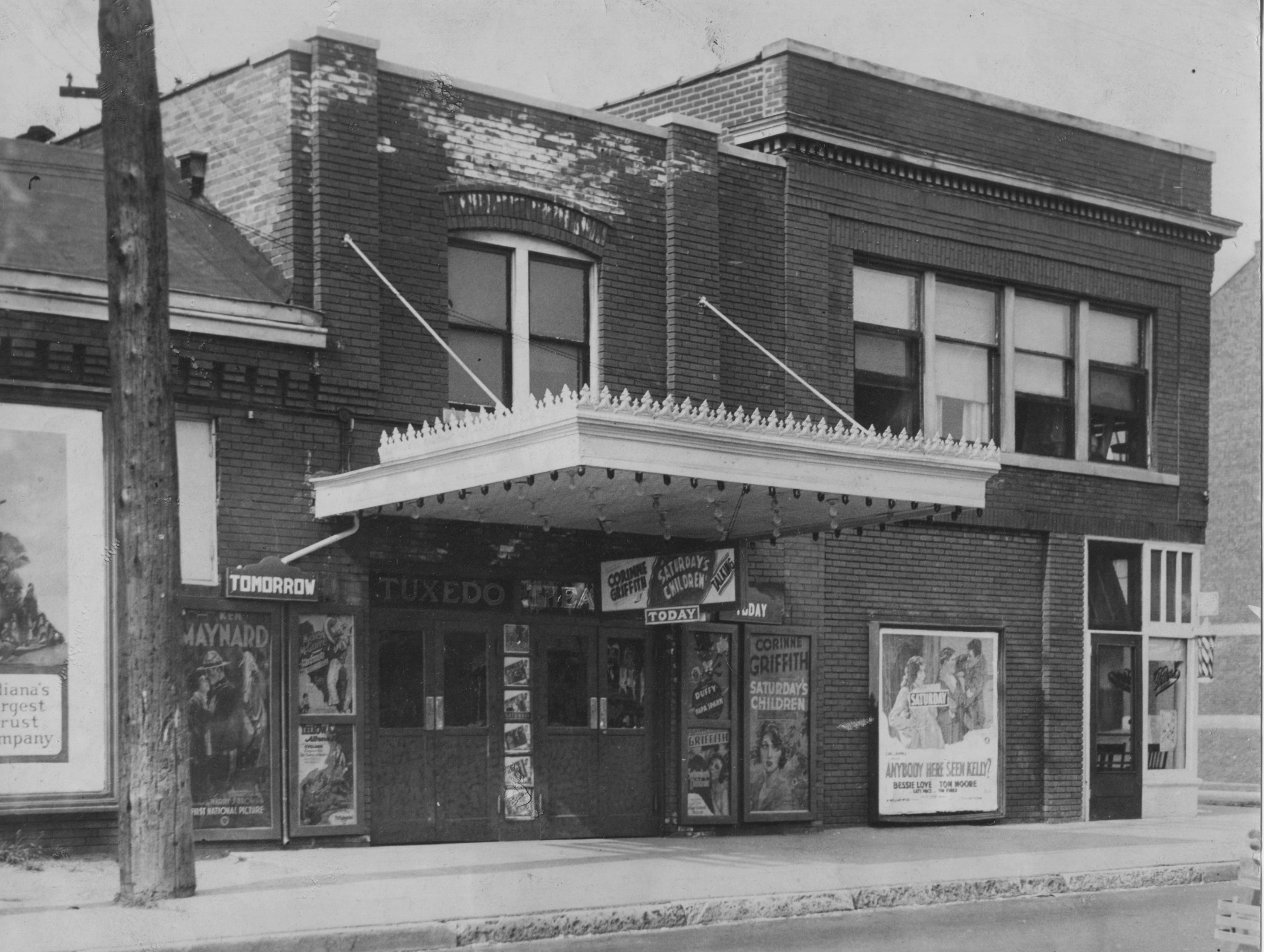 Exterior of Tuxedo Theater opened in 1916 at 4020 E. New York Street and closed its doors in 1957.
