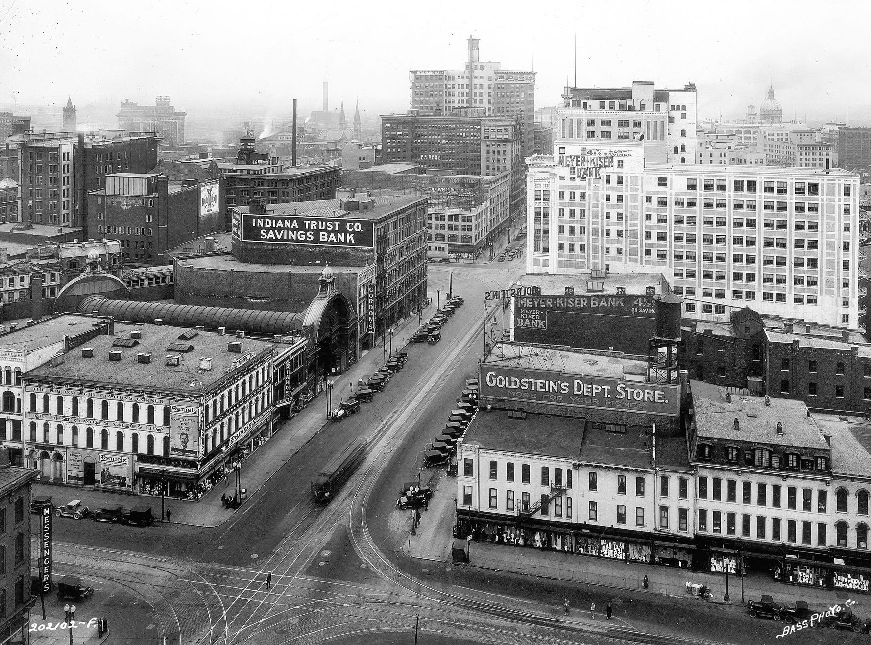 Indianapolis downtown looking west on Washington St. Photo taken from the top of the Courthouse situated at Washington & Delaware St. May 18, 1927