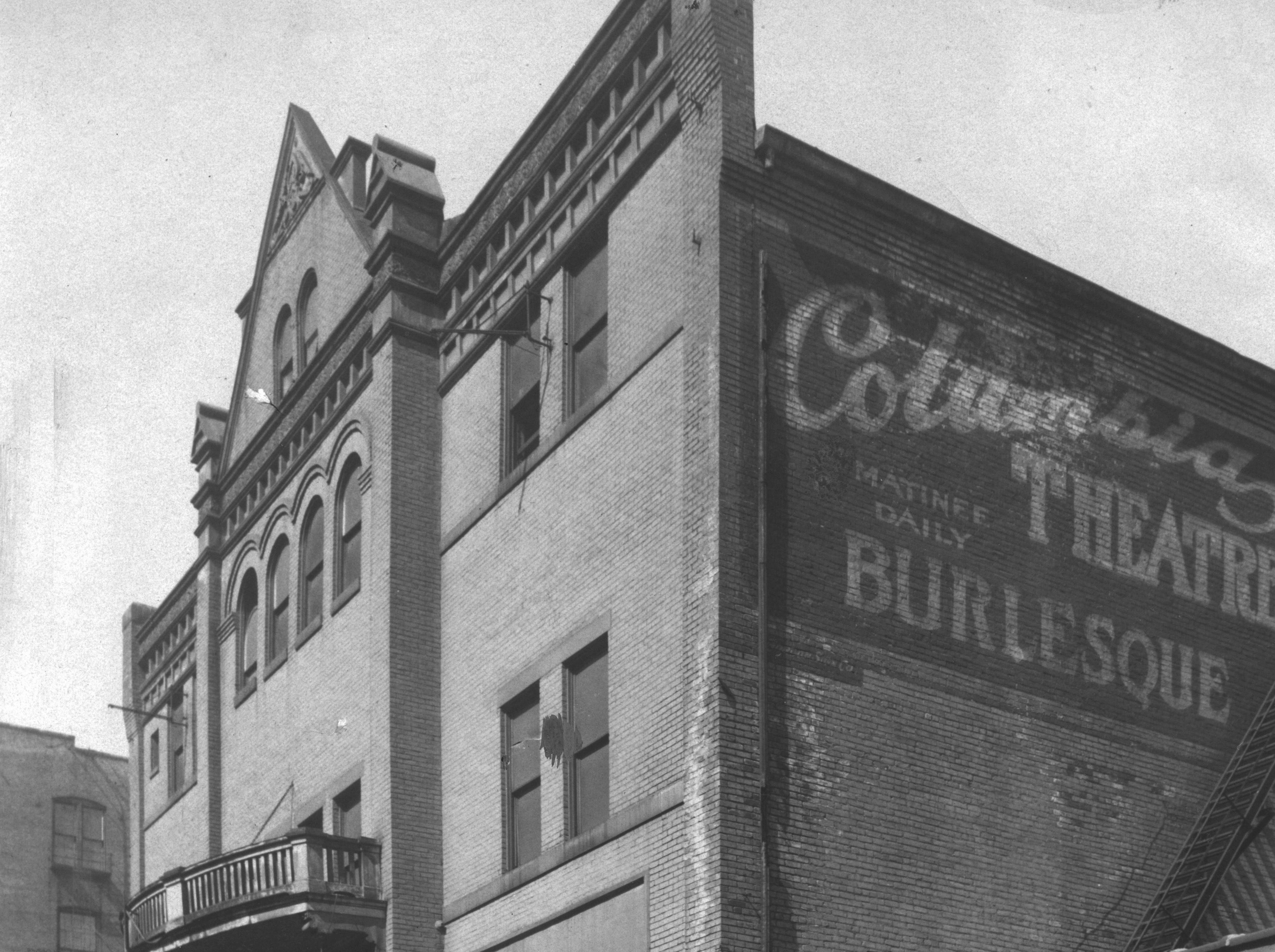 Shown here in 1923, long after it closed, the Empire Theater at Wabash and Talbott streets, was the only burlesque theater in Indiana during its heyday from 1892 to 1915.  During its last couple of years it was re-named the Columbia Theater.  In the 1920s it was converted into one of the city's first multi-floor parking garages.