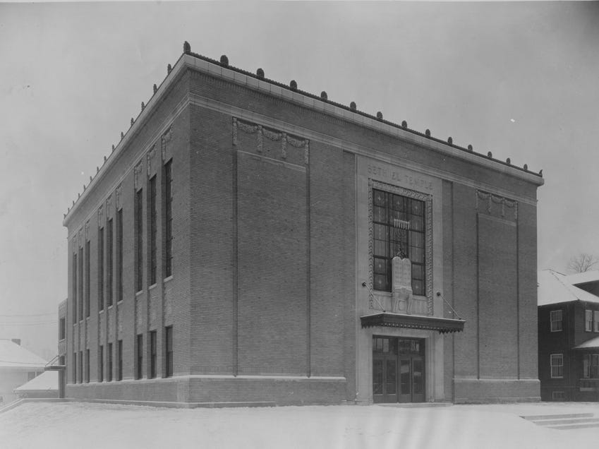 Built in 1923 by the firm of Vonnegut Bohn and Mueller, this Hebrew temple served the Beth-El congregation until 1958. The B'nai Torah occupied it until 1968 and then served as the home of three Christian churches.