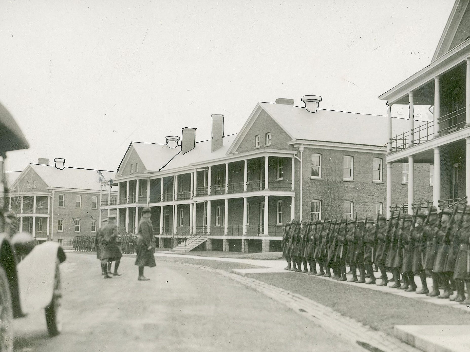 Inspecting the troops at Ft Benjamin Harrison March 12, 1920.
