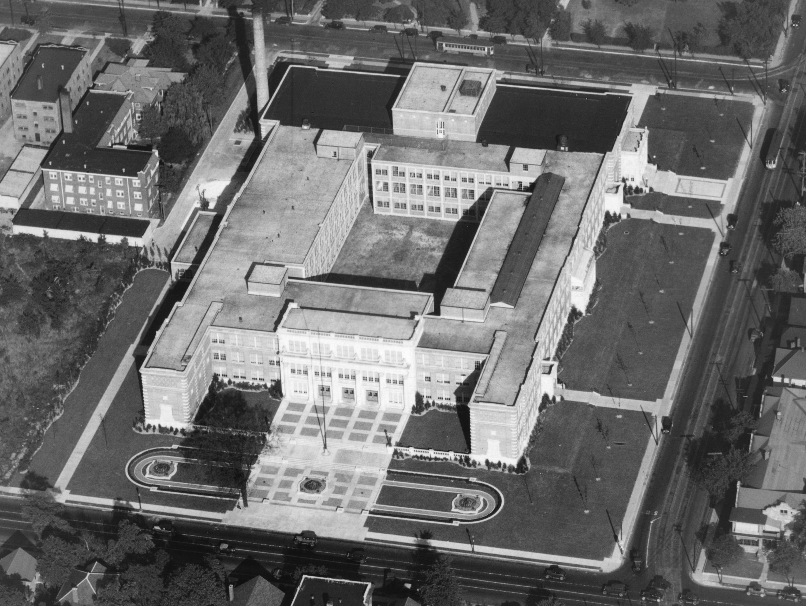 Aerial of Shortridge High School at Meridian and 34th Streets. Star file photo Dec. 13, 1929