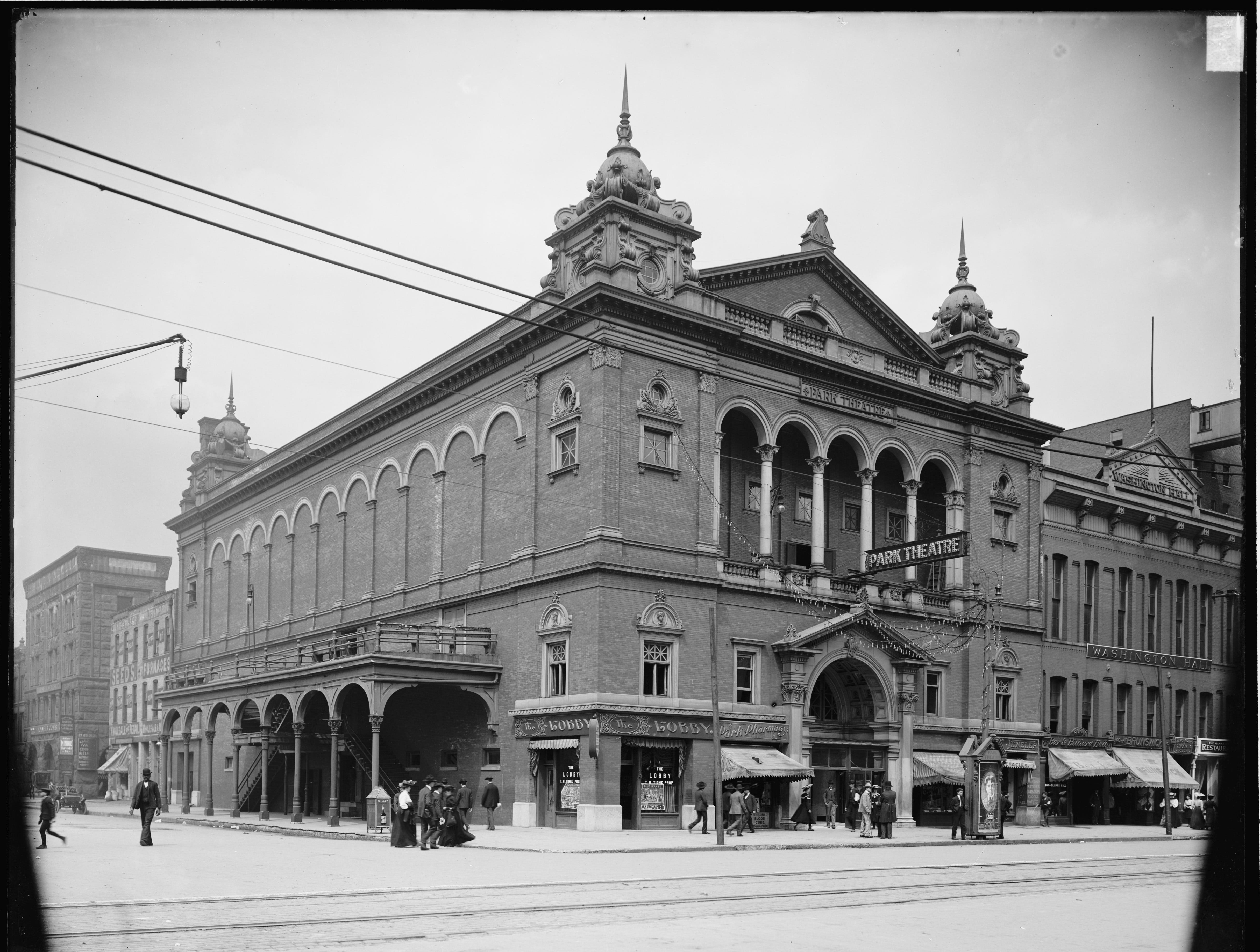 The Park Theater on Washington and Capitol was the city's first building constructed as a theater (named the Metropolitan in 1858). In 1882 it became the Park Theatre, then the Lyceum in 1913, the Strand in 1916 and the Park again late in 1916.
