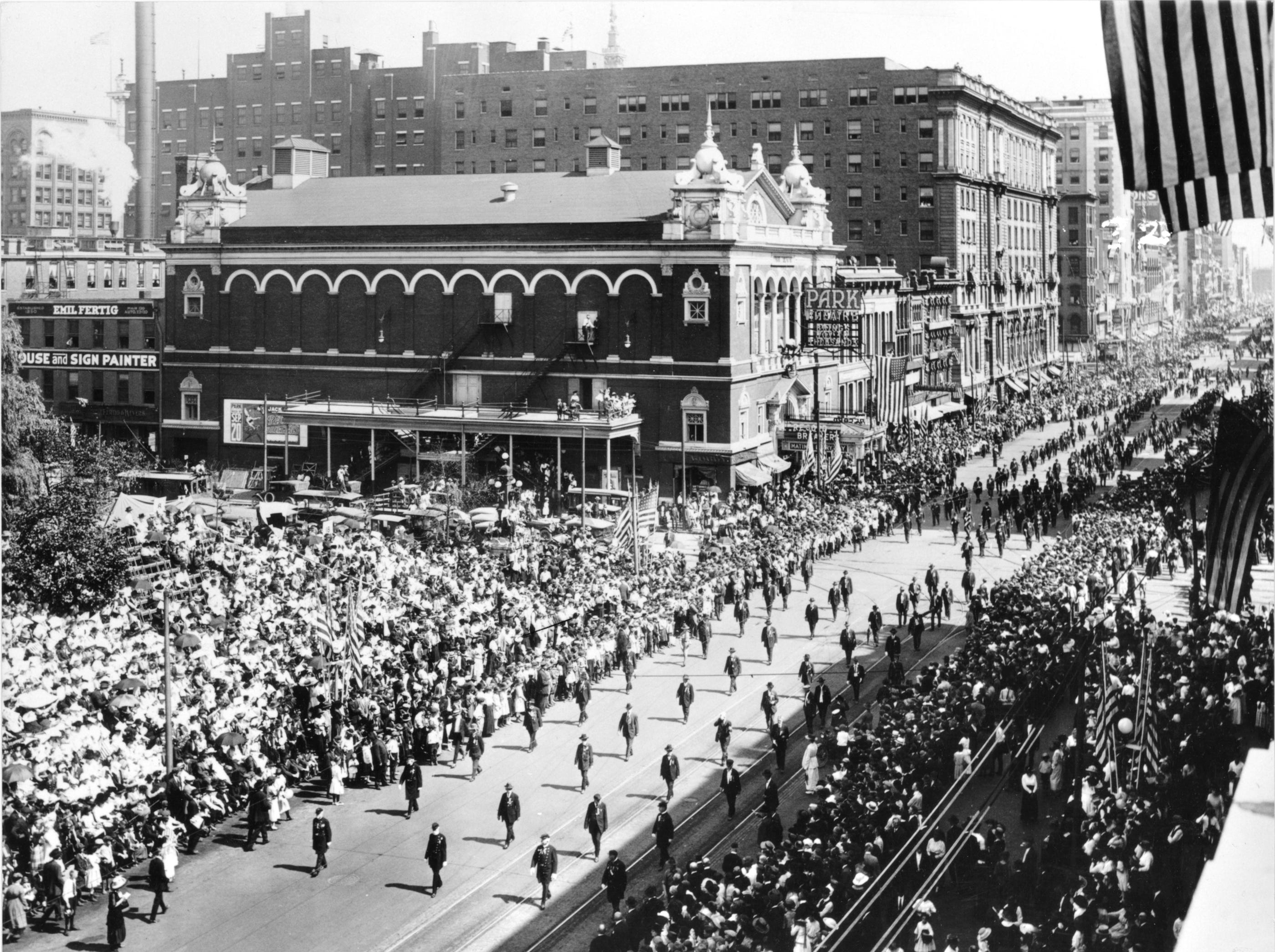 A column of 15,000 Civil War veterans parade down West Washington Street during the 54th Encampment of the G.A.R. (Grand Army of the Republic) in Indianapolis on Sept. 22, 1920. Marching tunes of the Civil War were played all along the line. It was estimated that 100,000 visitors were in the city. The spectators numbered between 75,000-90,000.