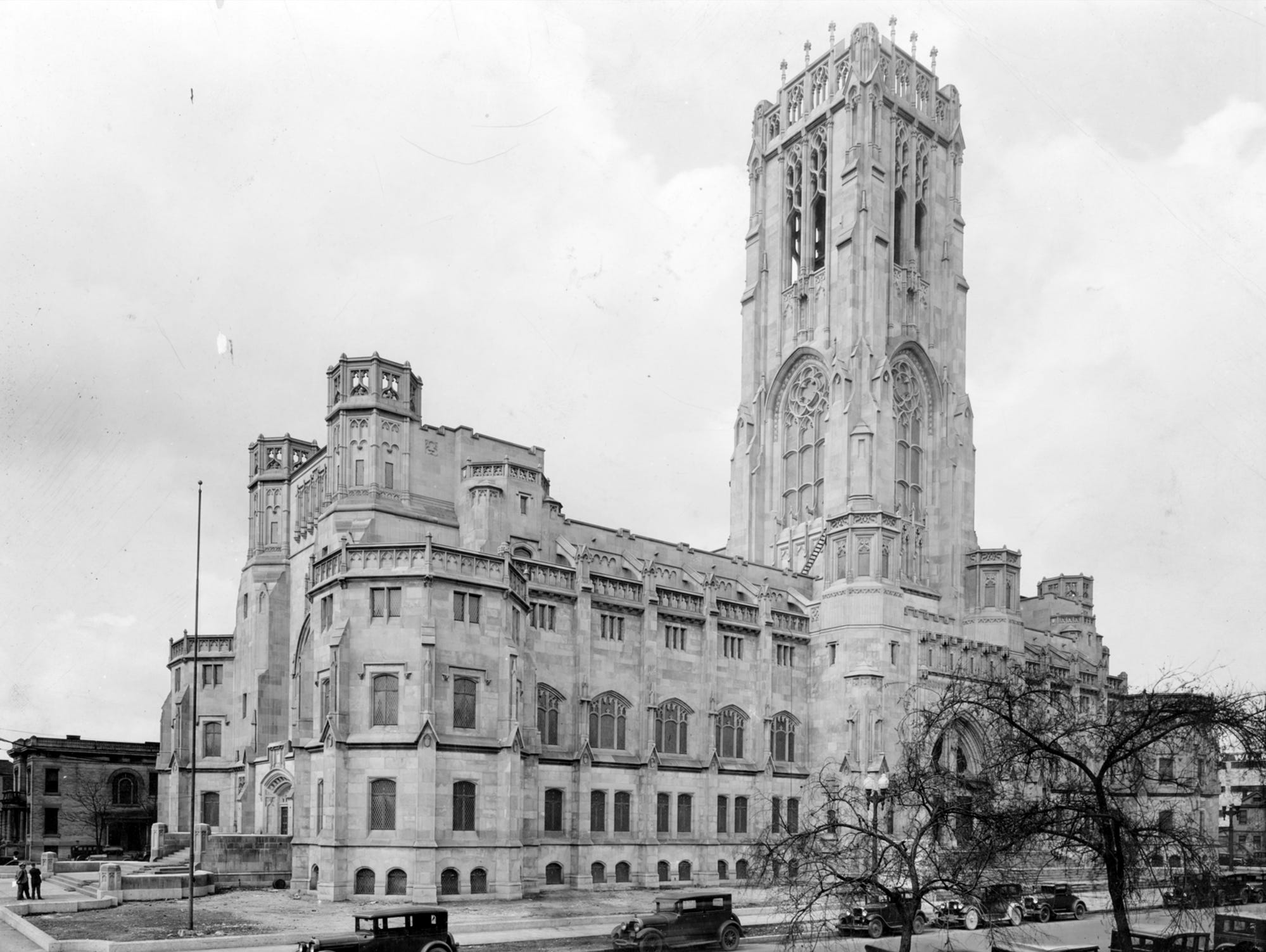 Scottish Rite Cathedral ----July 26, 1929.  The Scottish Rite Cathedral, completed in 1929, is the world's largest and cost $2.5 million to build. located at 650 Meridian st., the entire structure is laid out in multiples of 33 feet, symbolizing the 33 years of Jesus Christ's life.